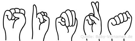 Simra im Fingeralphabet der Deutschen Gebärdensprache