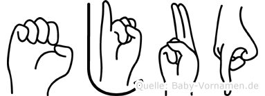 Ejup im Fingeralphabet der Deutschen Gebärdensprache
