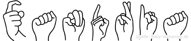 Xandria im Fingeralphabet der Deutschen Gebärdensprache