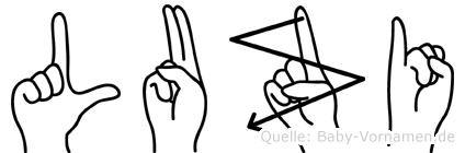 Luzi im Fingeralphabet der Deutschen Gebärdensprache