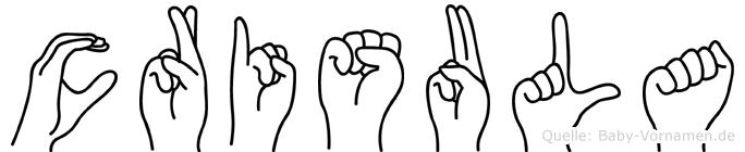 Crisula im Fingeralphabet der Deutschen Gebärdensprache
