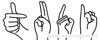 Tudi im Fingeralphabet der Deutschen Gebärdensprache