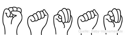 Saman im Fingeralphabet der Deutschen Gebärdensprache