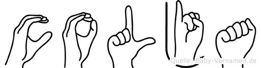 Colja im Fingeralphabet der Deutschen Gebärdensprache