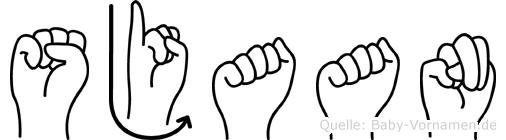 Sjaan im Fingeralphabet der Deutschen Gebärdensprache