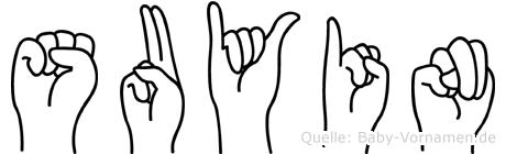 Suyin im Fingeralphabet der Deutschen Gebärdensprache