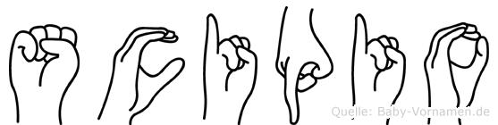 Scipio im Fingeralphabet der Deutschen Gebärdensprache