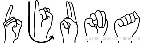 Djuna im Fingeralphabet der Deutschen Gebärdensprache