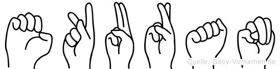 Ekuran im Fingeralphabet der Deutschen Gebärdensprache
