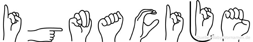 Ignacije im Fingeralphabet der Deutschen Gebärdensprache