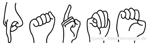 Padme im Fingeralphabet der Deutschen Gebärdensprache