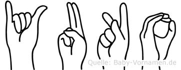 Yuko im Fingeralphabet der Deutschen Gebärdensprache