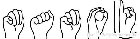 Manoj im Fingeralphabet der Deutschen Gebärdensprache