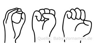 Ose im Fingeralphabet der Deutschen Gebärdensprache