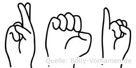 Rei im Fingeralphabet der Deutschen Gebärdensprache