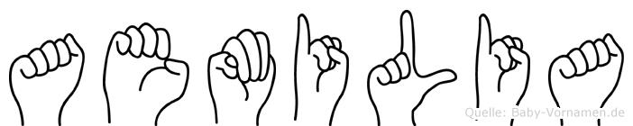 Aemilia im Fingeralphabet der Deutschen Gebärdensprache