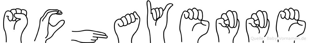 Schayenne im Fingeralphabet der Deutschen Gebärdensprache