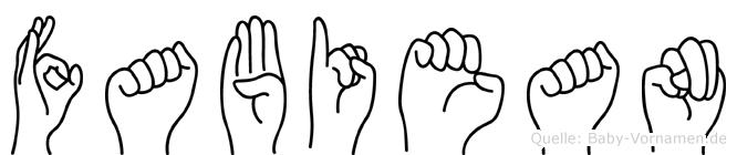 Fabiean in Fingersprache für Gehörlose