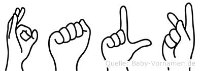 Falk im Fingeralphabet der Deutschen Gebärdensprache