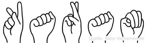 Karam im Fingeralphabet der Deutschen Gebärdensprache