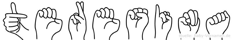 Teresina im Fingeralphabet der Deutschen Gebärdensprache