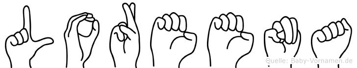 Loreena im Fingeralphabet der Deutschen Gebärdensprache
