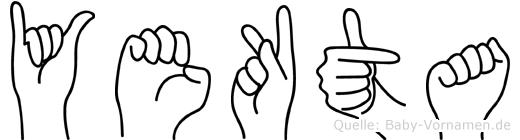 Yekta im Fingeralphabet der Deutschen Gebärdensprache
