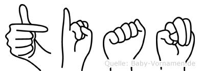Tian im Fingeralphabet der Deutschen Gebärdensprache