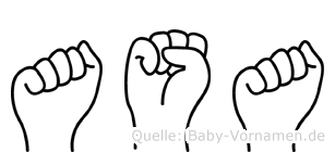 Asa im Fingeralphabet der Deutschen Gebärdensprache
