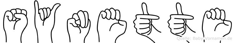 Synette im Fingeralphabet der Deutschen Gebärdensprache