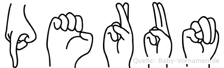 Perun im Fingeralphabet der Deutschen Gebärdensprache