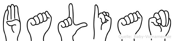 Balian im Fingeralphabet der Deutschen Gebärdensprache