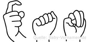 Xan in Fingersprache für Gehörlose