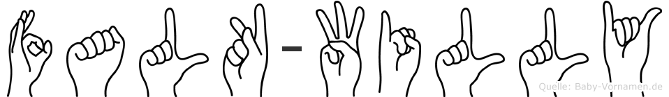 Falk-Willy im Fingeralphabet der Deutschen Gebärdensprache