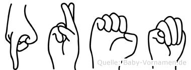 Prem im Fingeralphabet der Deutschen Gebärdensprache