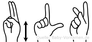 Ülkü im Fingeralphabet der Deutschen Gebärdensprache