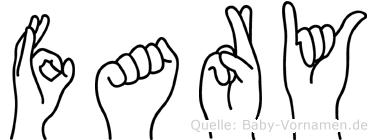 Fary im Fingeralphabet der Deutschen Gebärdensprache