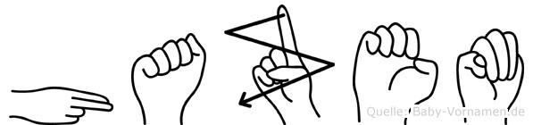 Hazem im Fingeralphabet der Deutschen Gebärdensprache