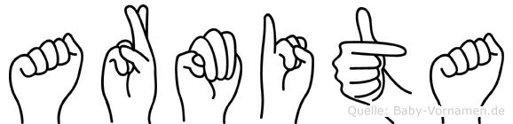 Armita im Fingeralphabet der Deutschen Gebärdensprache