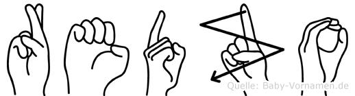 Redzo im Fingeralphabet der Deutschen Gebärdensprache