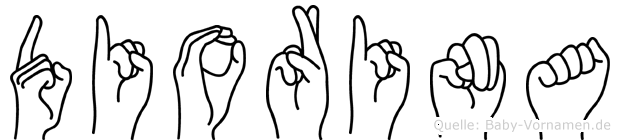 Diorina im Fingeralphabet der Deutschen Gebärdensprache