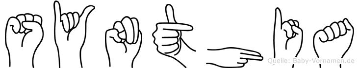 Synthia im Fingeralphabet der Deutschen Gebärdensprache
