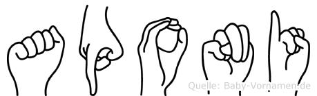Aponi im Fingeralphabet der Deutschen Gebärdensprache