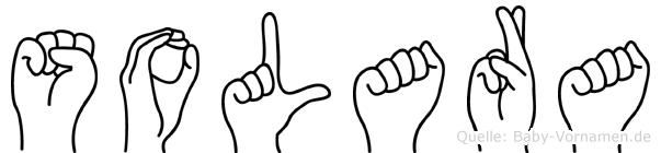 Solara im Fingeralphabet der Deutschen Gebärdensprache