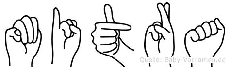 Mitra im Fingeralphabet der Deutschen Gebärdensprache