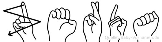 Zerda im Fingeralphabet der Deutschen Gebärdensprache