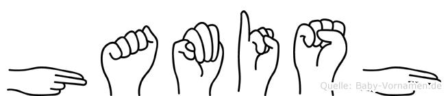 Hamish im Fingeralphabet der Deutschen Gebärdensprache