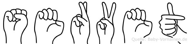 Servet im Fingeralphabet der Deutschen Gebärdensprache