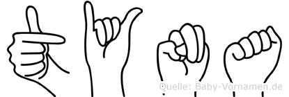 Tyna im Fingeralphabet der Deutschen Gebärdensprache