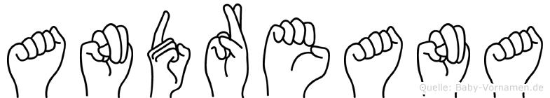 Andreana im Fingeralphabet der Deutschen Gebärdensprache